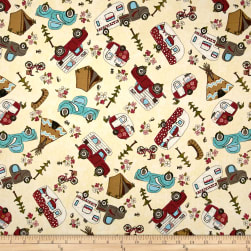 Riverwoods Glamping Gypsies Novelty White Fabric