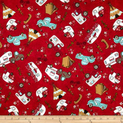 Riverwoods Glamping Gypsies Novelty Red Fabric