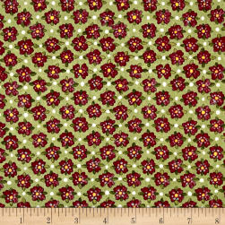 Riverwoods Glamping Gypsies Flowers Green Fabric