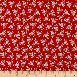 Penny Rose Mon Beau Jardin Floral Red Fabric