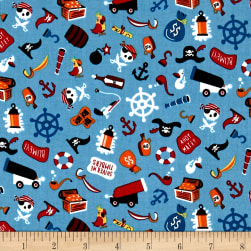 Riley Blake Pirates Life Unbattened Hatches Blue Fabric