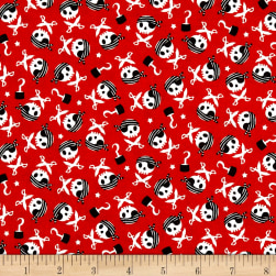 Riley Blake Pirates Life Skulls And Swords Red