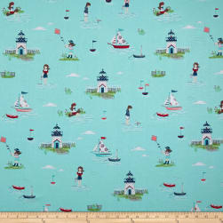 Riley Blake Seaside Main Aqua Fabric