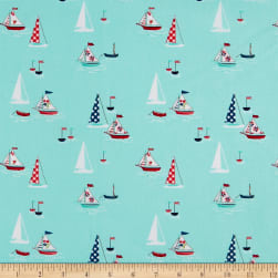Riley Blake Seaside Boats Aqua Fabric