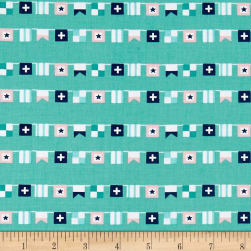 Seaside Flags Teal Fabric