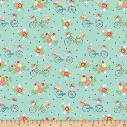 Riley Blake Vintage Adventure Bicycle Aqua Fabric