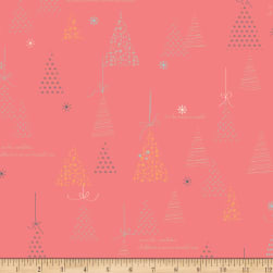 Riley Blake Winter Tales Tree Coral Fabric