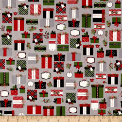 Riley Blake Christmas Delivery Presents Grey Fabric