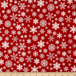 Riley Blake Christmas Delivery Snowflakes Red Fabric