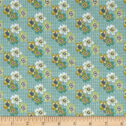 Penny Rose Floral Hues Lawn Bouquet Teal Fabric