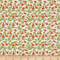 Penny Rose Floral Hues Lawn Leaves Cream Fabric