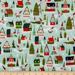 Riley Blake Way Up North Houses Mint Fabric