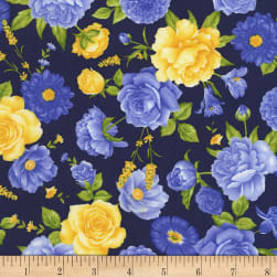 Timeless Treasures Angelica Allover Flowers Midnight Fabric