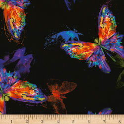 Timeless Treasures Digital Awaken Watercolor Butterfly Black Fabric