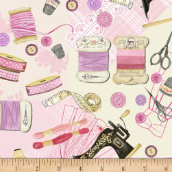 Timeless Treasures Threads Up Sewing Blush Fabric