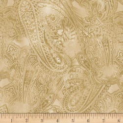 Timeless Treasures Fields Of Blue Paisley Latte Fabric