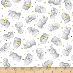 Timeless Treasures Little Star Flannel Happy Bunnies White