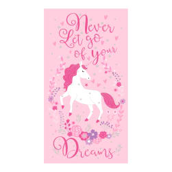 Timeless Treasures Never Let Go Of Your Dreams 24'' Unicorn Panel Metallic Pink Fabric