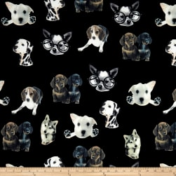 Double Brushed Spandex Jersey Knit Puppies on Black