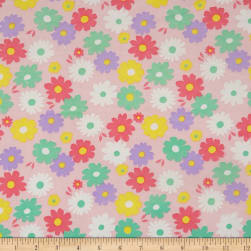 Double Brushed Spandex Jersey Knit Multi Floral on Light Pink