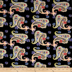 Double Brushed Spandex Stretch Jersey Knit Paisley/Floral Blue/Black