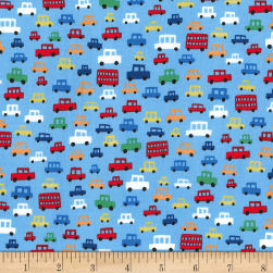 Michael Miller Move Along Toot Toot Blue Fabric