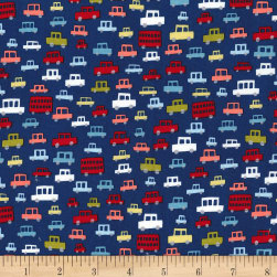 Michael Miller Move Along Toot Toot Navy Fabric