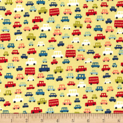 Michael Miller Move Along Toot Toot Yellow Fabric
