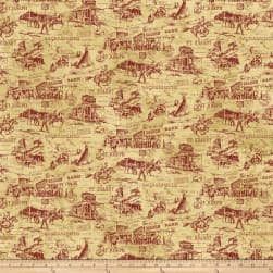 Pony Express Scenic Red Fabric