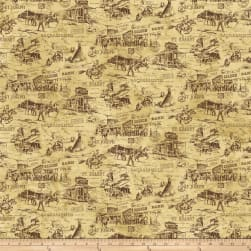Pony Express Scenic Brown Fabric