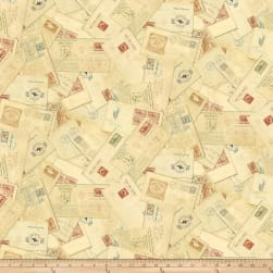 Pony Express Letters Tan Fabric