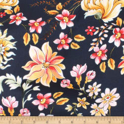 Telio Pebble Satin Crepe Floral Navy Fabric