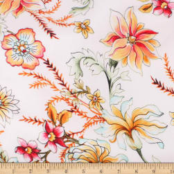 Telio Pebble Satin Crepe Floral Ivory Fabric