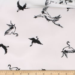 Telio Pebble Satin Crepe Bird White/Black Fabric