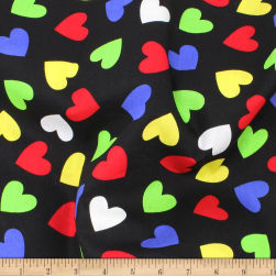 Telio Playtime Cotton Poplin Hearts Black Fabric