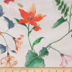 Telio Digital Printed Linen Floral Ecru Multi Fabric