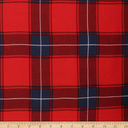 Telio Vangogh Rayon Twill Print Check Red Fabric