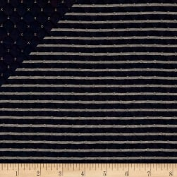 Telio Star Quilted Knit Navy Fabric