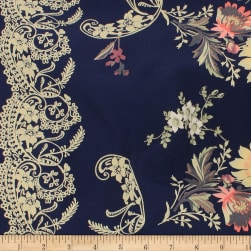 Telio Robin Polyester Faile Double Border Print Midnight