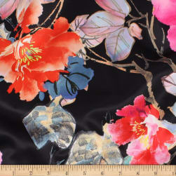 Telio Kimono Stretch Satin Floral Black Fabric