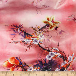 Telio Kimono Stretch Satin Magnolia Branch Blush Fabric