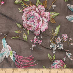 Telio Birds Of Paradise Mesh Embroidery Black Fuchsia
