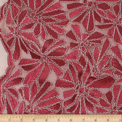 Telio Alexa Embroidery Two Tone Corded Embroidery Lace Floral Red Fabric