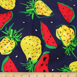 Telio Playtime Cotton Poplin Pineapple Watermelon Navy Fabric