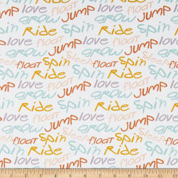 Paintbrush Studios Jump Ride Spin Words Ecru Fabric