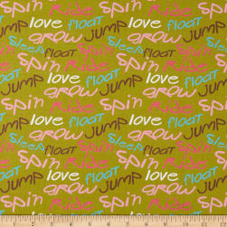 Paintbrush Studio Jump Ride Spin Words Gold Fabric