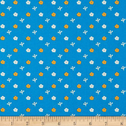 Paintbrush Studio Otter Romp Small Floral Blue Fabric