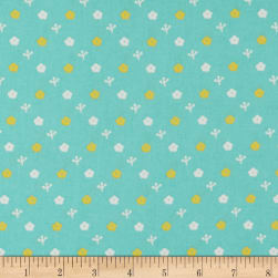 Paintbrush Studio Otter Romp Small Floral Turquoise Fabric