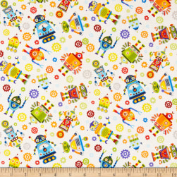 Paintbrush Studios Launch Party Robots Light Yellow Fabric