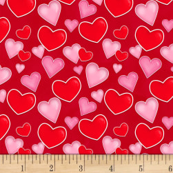 Henry Glass Love Struck Tossed Hearts Red